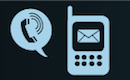 Icon showing flip phone for technology parameters to handle technology and sms solutions